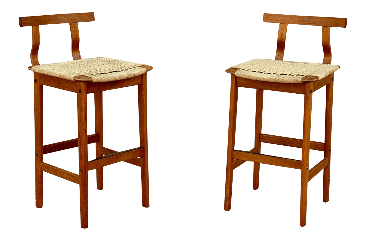 1960s Danish Mid Century Modern Teak Woven Cord Barstools A Pair Chairish