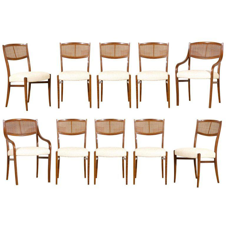dining chairs with caning kid adirondack chair plastic lovely set of ten 1960s walnut cane by barney flagg for sale image 11