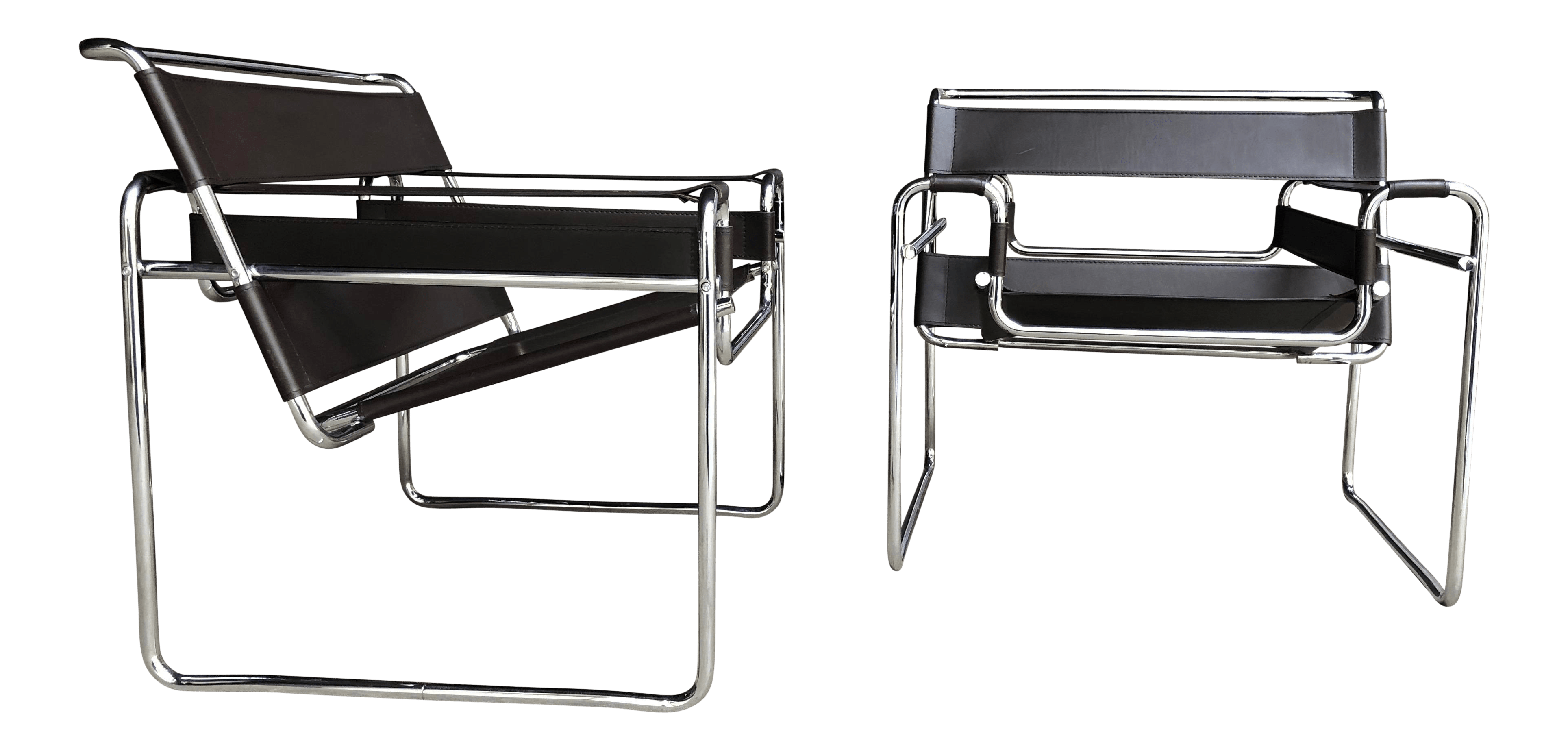 wassily chair brown leather travel trailer chairs pair of marcel breuer chrome sling for sale