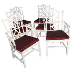 Chippendale Dining Chair Oversized Tufted Luxury Vintage Fretwork Chinese Chairs Set Of 6 Wood For Sale Image 7