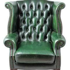 Traditional Wingback Chair Office Elevation Cad Block 1900s English Green Tufted Leather Chairish Authentic Chesterfield Wing Handmade From Has Queen Anne Style