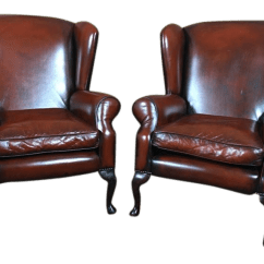 Traditional Leather Wingback Chair West Elm Slipper Early 20th Century Vintage English Edwardian Chairs A Pair For Sale