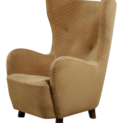 Chair Stands On Beige Club Excellent Danish High Wingback Lounge 1940s Decaso For Sale