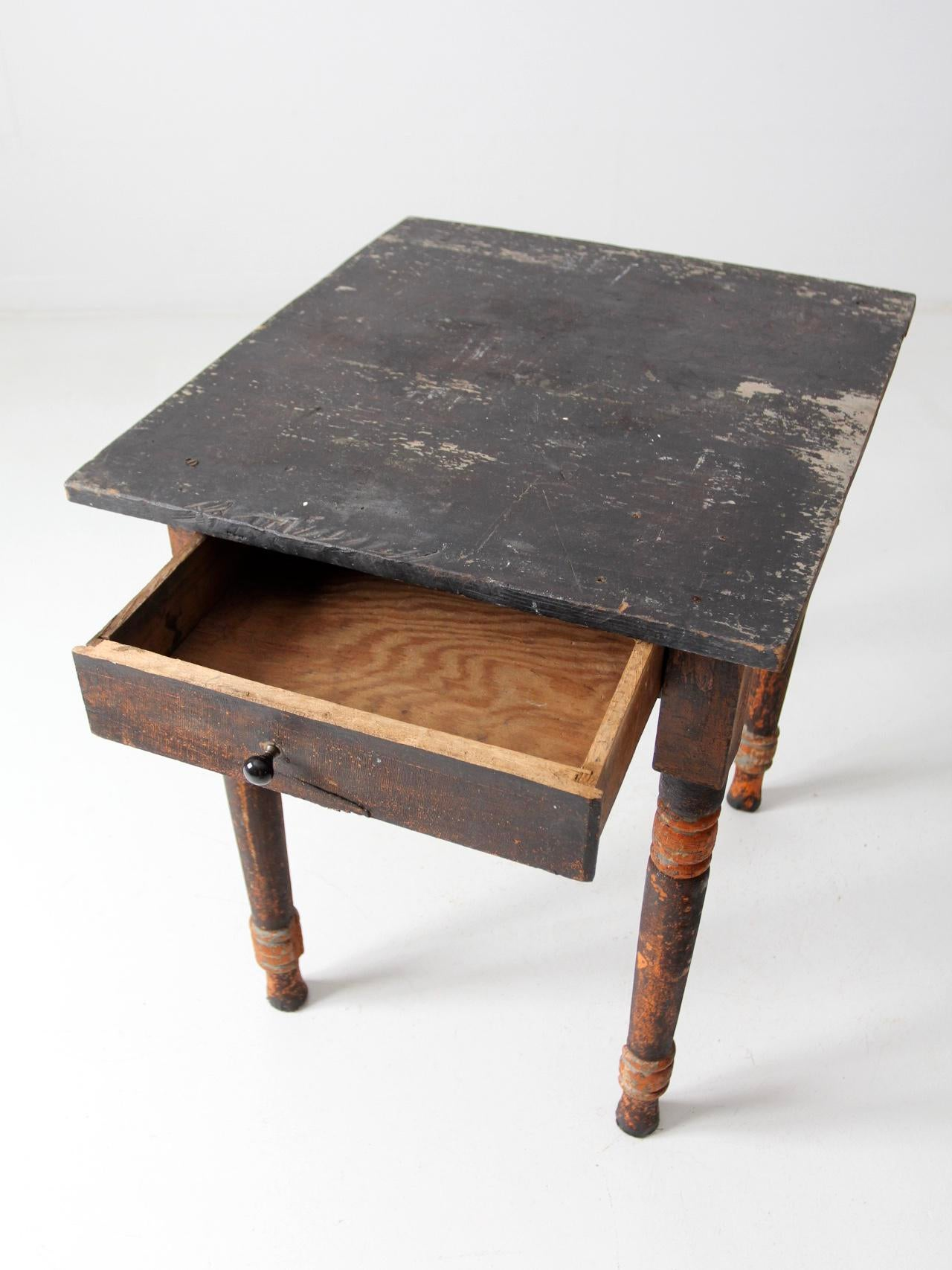antique primitive side table with drawer