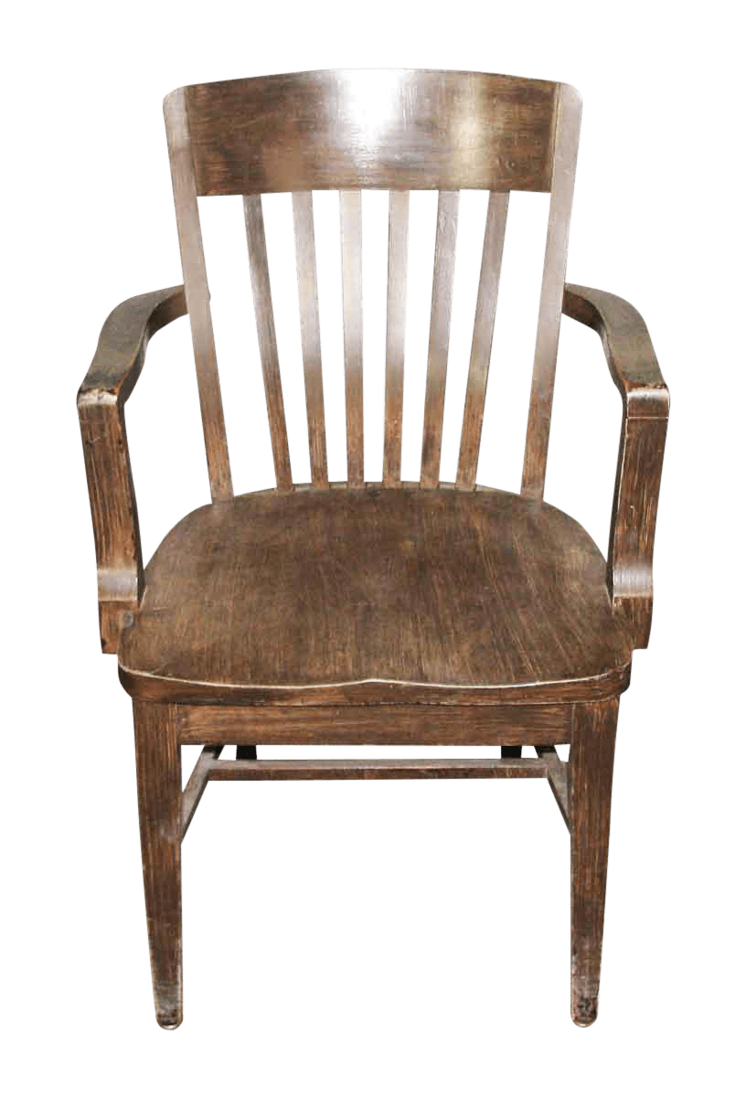 Wood Bankers Chair 1920s Wooden Bankers Chair With Arms Chairish