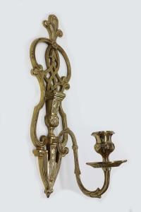 Vintage Brass Tall Candlestick Wall Sconce | Chairish