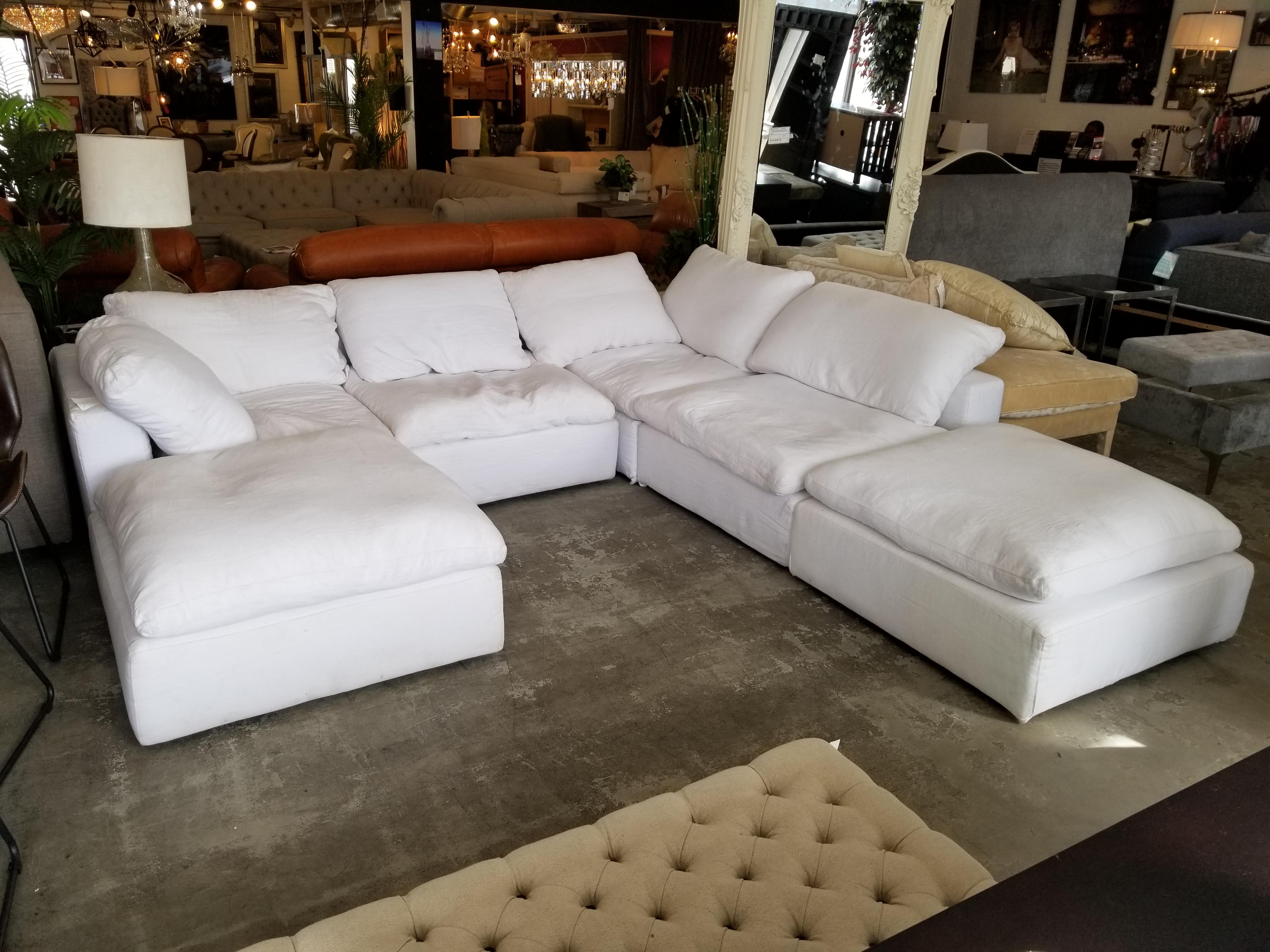 restoration hardware sectional sofa linen baker furniture max slipcovered cloud modular in fabric white for sale image 7