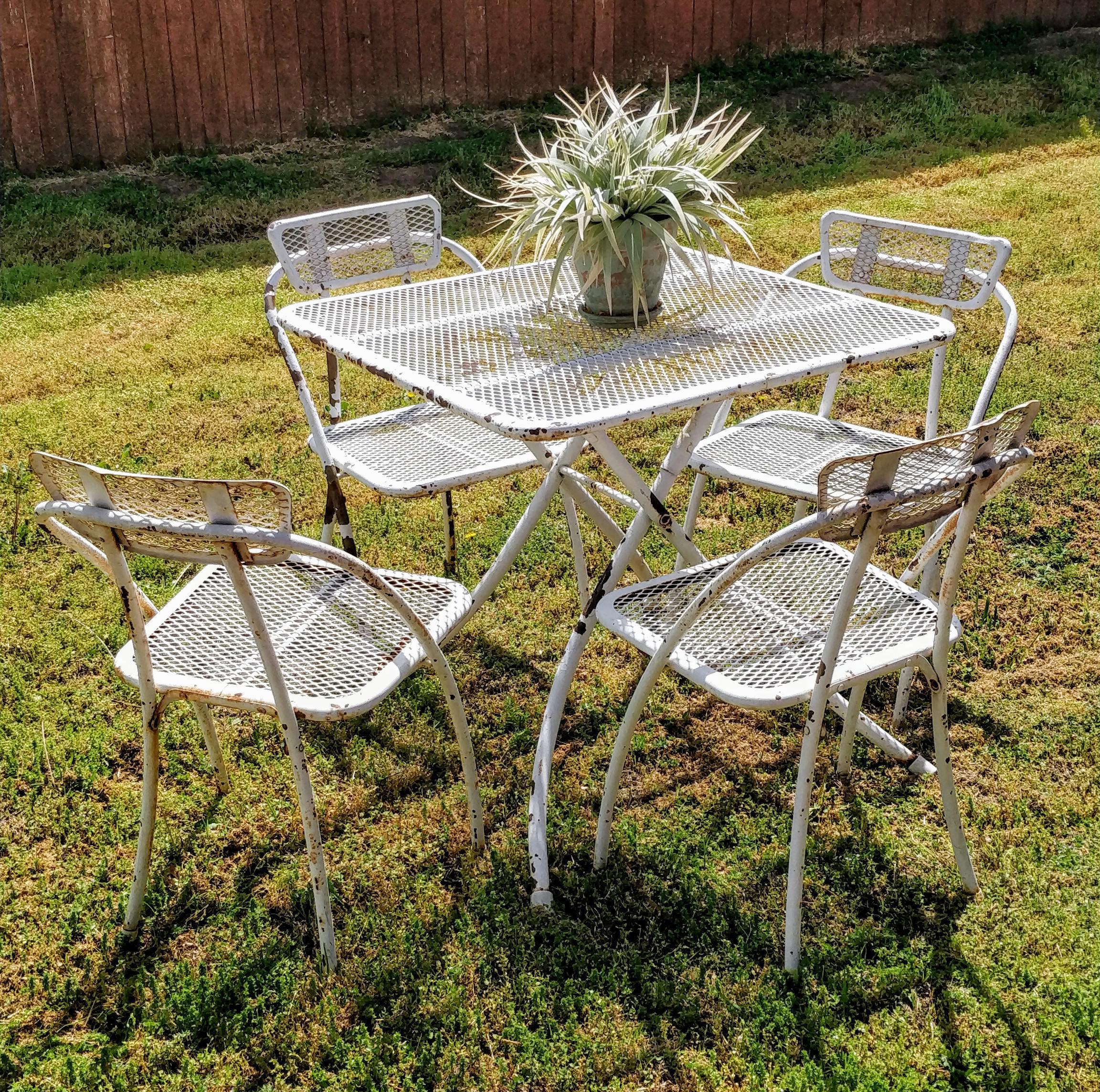 mid century modern metal patio furniture set of 5