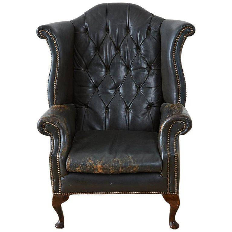 white leather wingback chair yankees folding english chesterfield tufted library chairish for sale image 13 of
