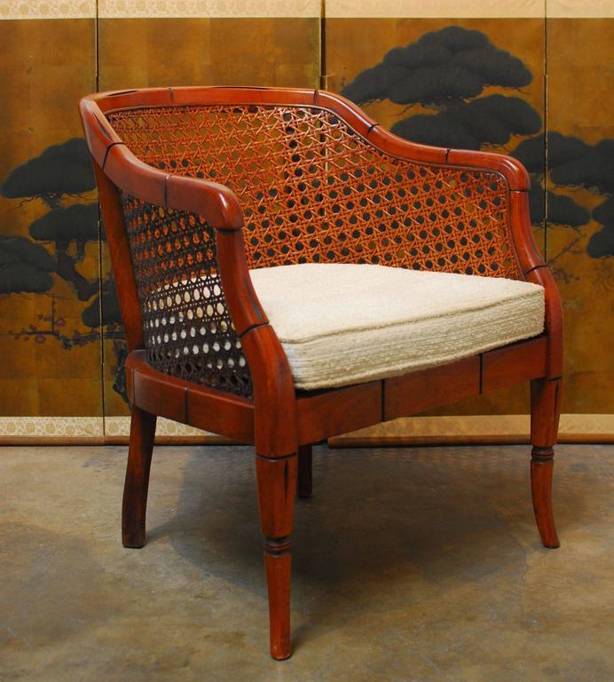 mid century cane barrel chair loose dining room covers uk midcentury bamboo chairish modern for sale image 3 of 8