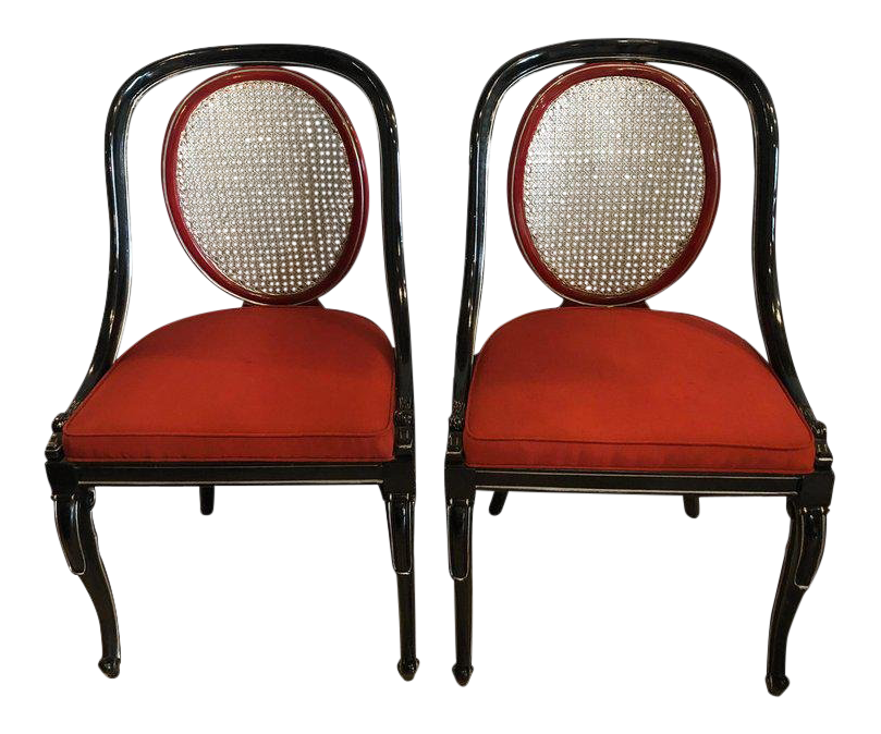 wood office chair accent swivel chairs vintage used for sale chairish pair of ebony and red hollywood regency style swan head arm or