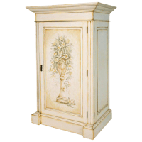 French Hand-Painted Storage Cabinet / Armoire | Chairish