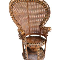 Fan Back Wicker Chair Ella Dining Vintage High Peacock Rattan Chairish Beautiful 1970s Emmanuel Features Intricate Weaving With Tribal Black Accents
