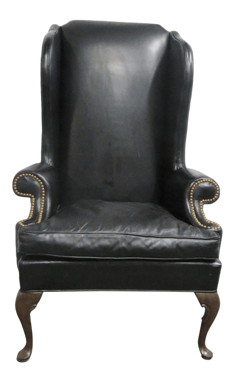 queen anne wingback chair leather seng chicago hickory co wing chairish