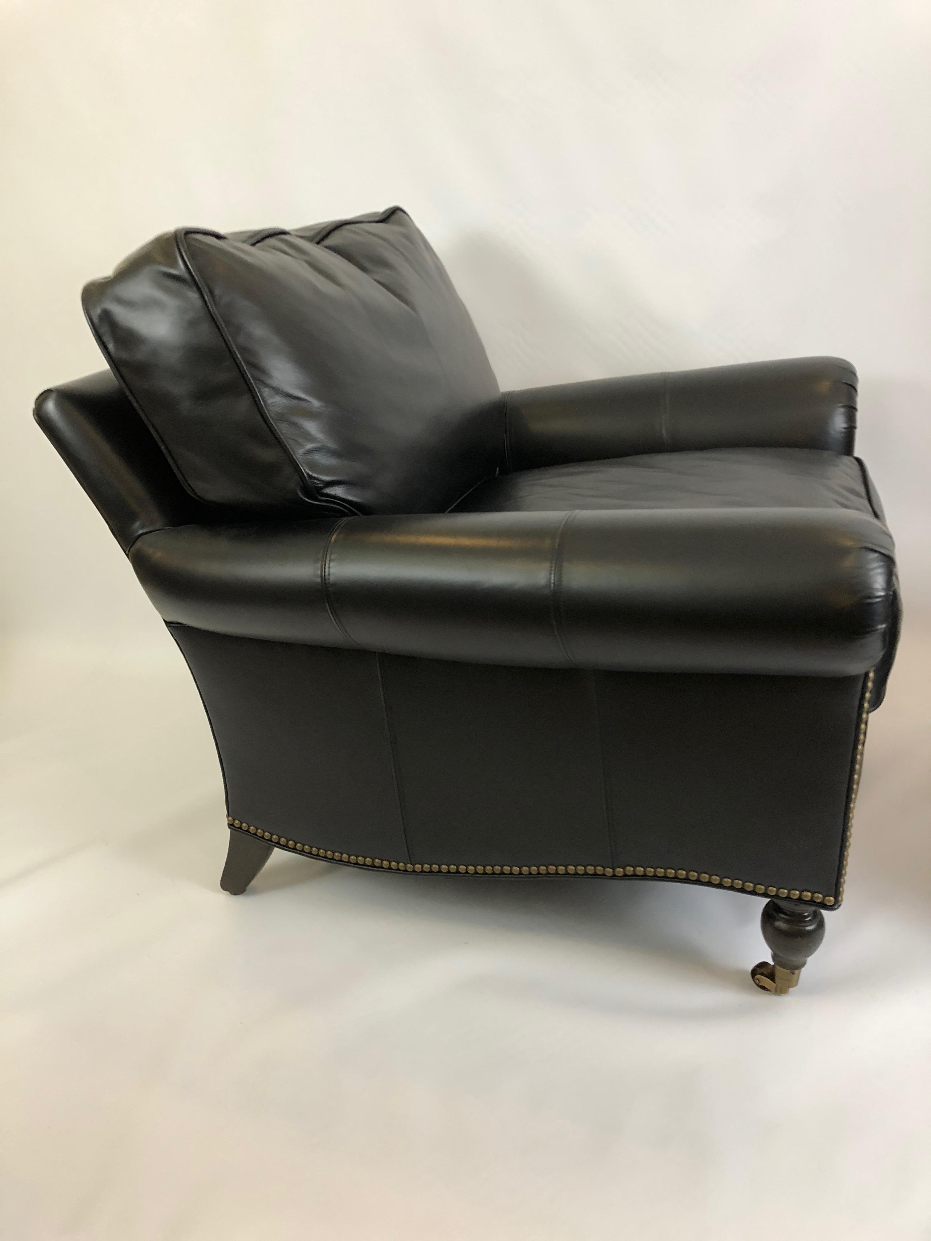 black leather club chair and ottoman cover hire bradford chairish for sale image 4 of 13