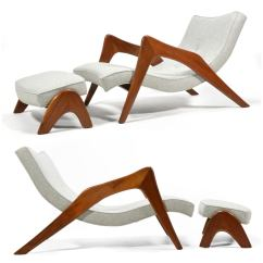 Adrian Pearsall Chair Personalized Rocking For Toddlers High End Pair Of Crescent Lounge Chairs And Ottomans The Long Leggy Form S Model 745 Lb Has Also