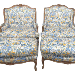 Country Style Wingback Chairs Fisher Price Spacesaver High Chair Antique Designer Shabby Chic Decaso French And Ottomans A Pair For Sale