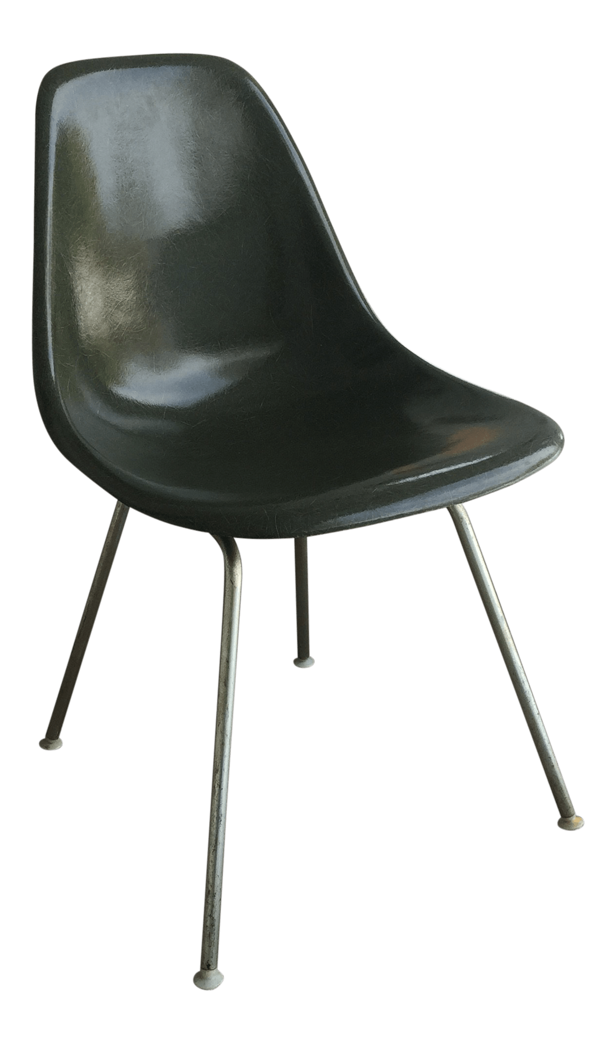 fiberglass shell chair high backed chairs uk 1950s vintage eames for herman miller olive green dark