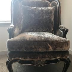 Marge Carson Chairs Snap On Rolling Chair Brown Velvet Marguerite A Pair Chairish Fabric For Sale Image 7 Of