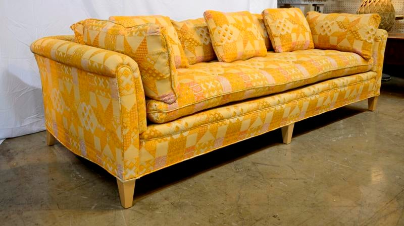 henredon sofa fabrics diamond park ave eastern king bed 1970s vintage orange tapestry chairish this is a with its original tag the fabric