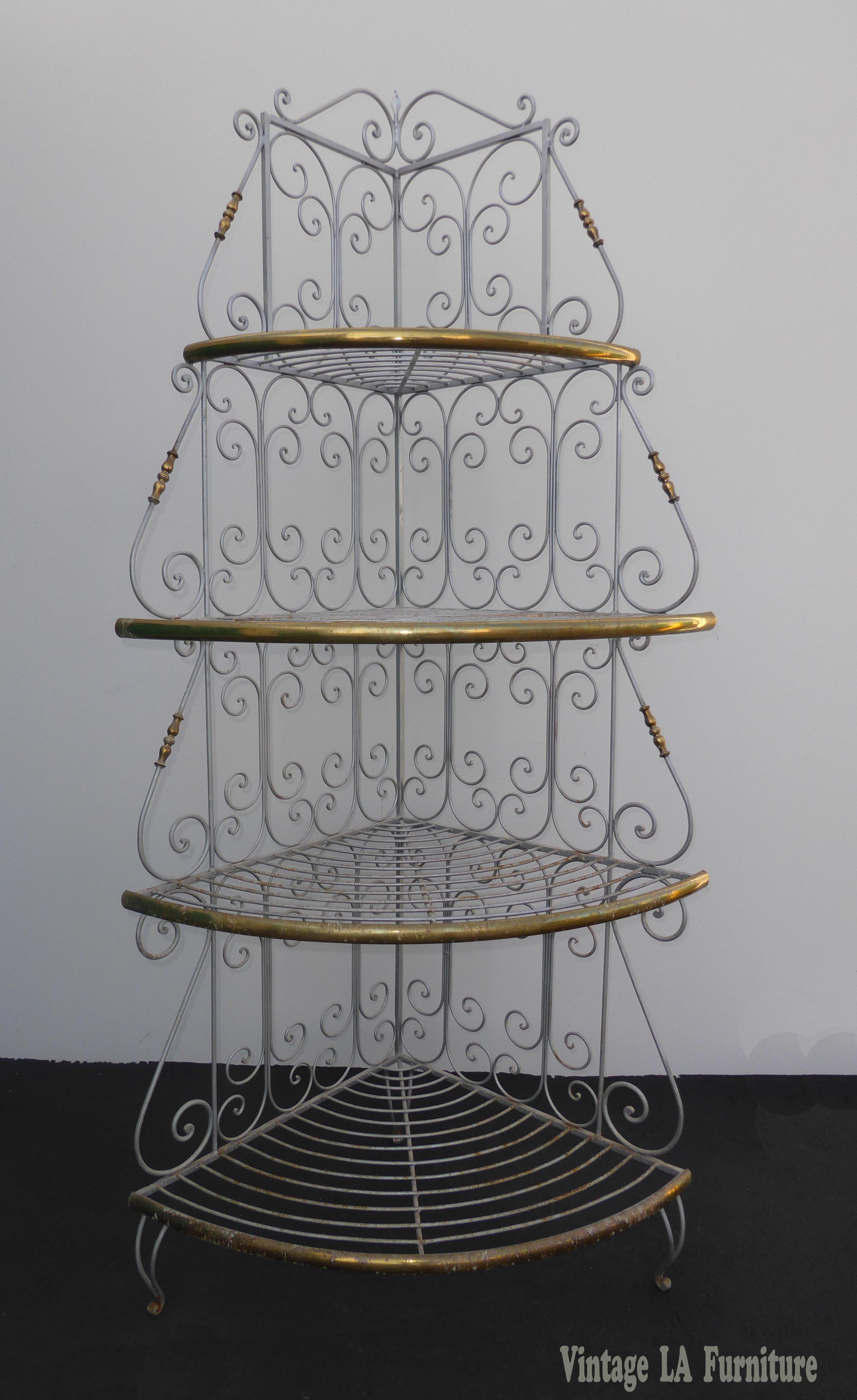 Vintage French Country White Wrought Iron  Brass Corner