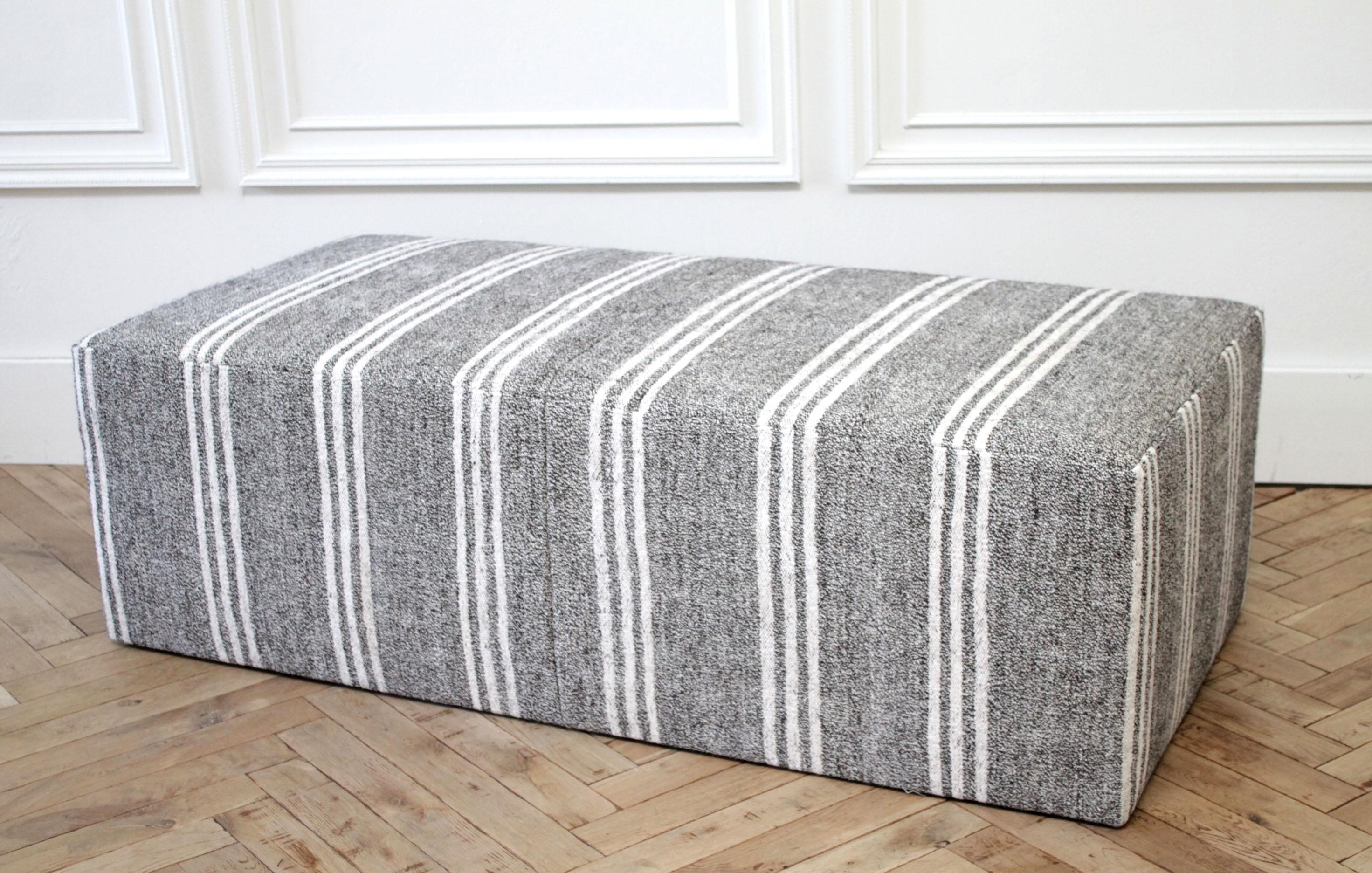 custom made vintage turkish rug rectangle cocktail ottoman coffee table
