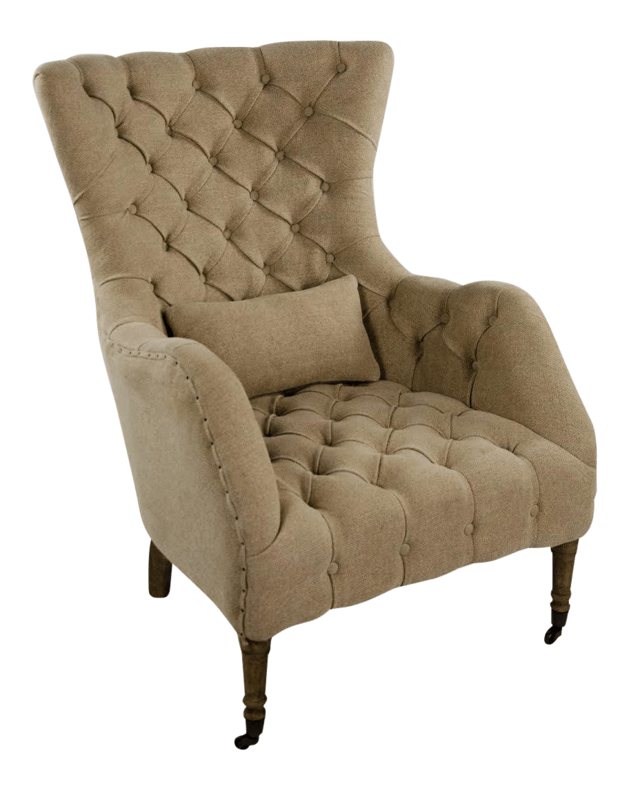 hanging chair restoration hardware soccer and ottoman set gently used furniture up to 50 off at chairish modern linen tufted wingback salon
