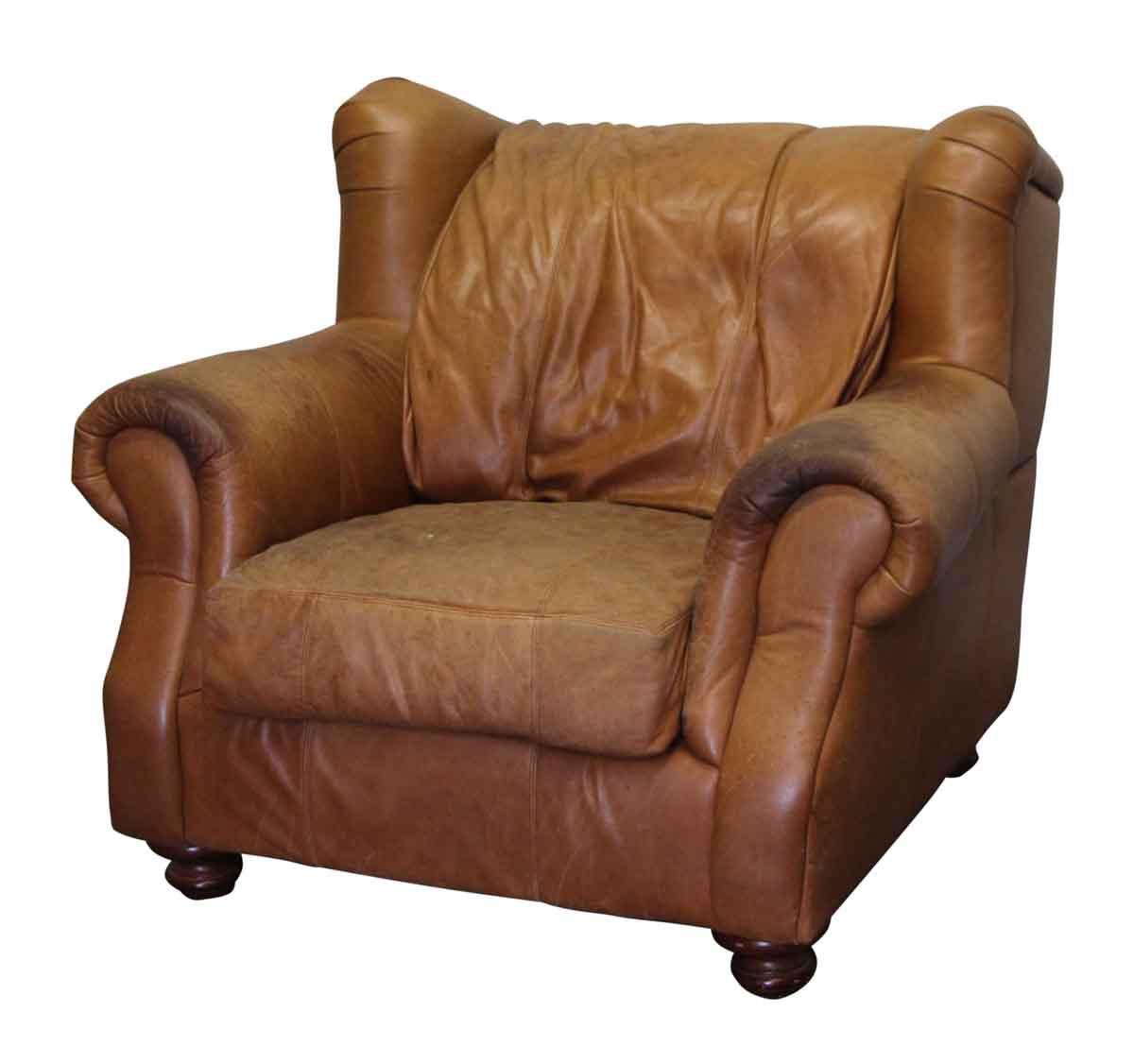 traditional wingback chair wood recliner leather chairish newer brown wing back armchair this comfy shows discoloration from age and