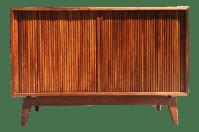 Mid-Century Modern TV Stereo Walnut Cabinet Credenza ...