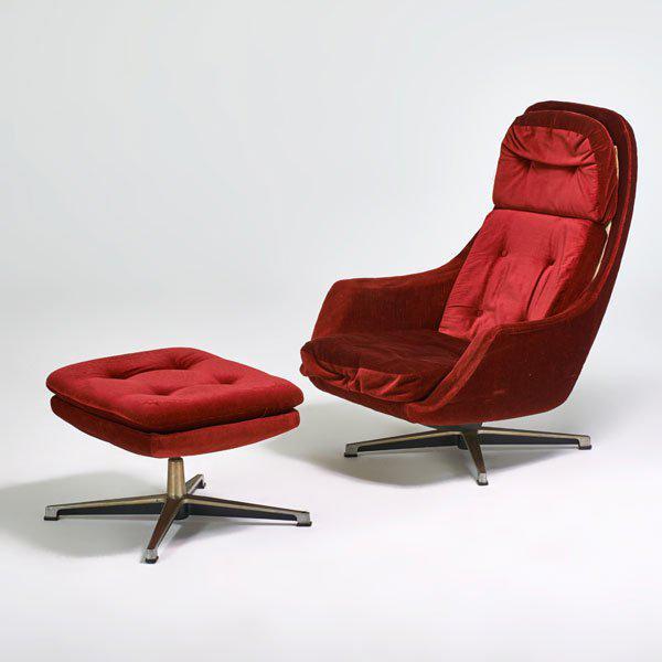 Overman Swivel Lounge Chair & Ottoman, Scandinavian Modern