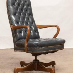 Blue Leather Office Chair Swivel Philippines Schafer Brothers Tufted Desk Chairish Impressive Executive Featuring A French Upholstery And Accented By Brass Nail