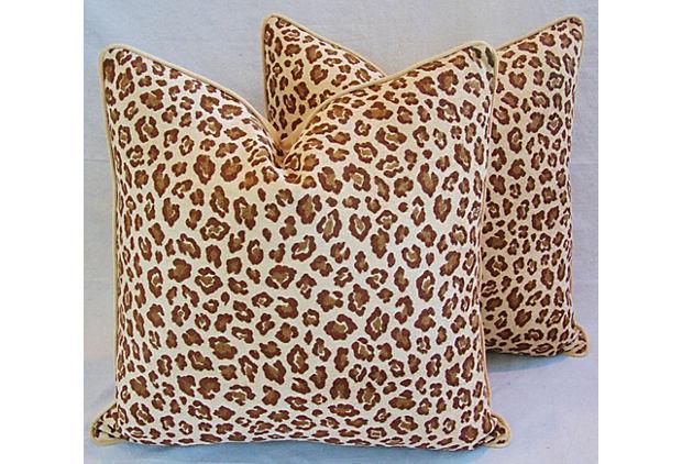 Custom Safari Leopard Velvet Pillows A Pair Chairish