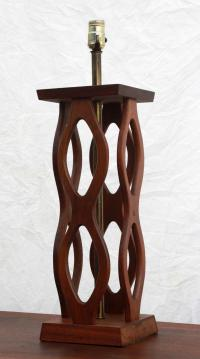 Vintage Mid-Century Modern Sculpted Walnut Table Lamp ...