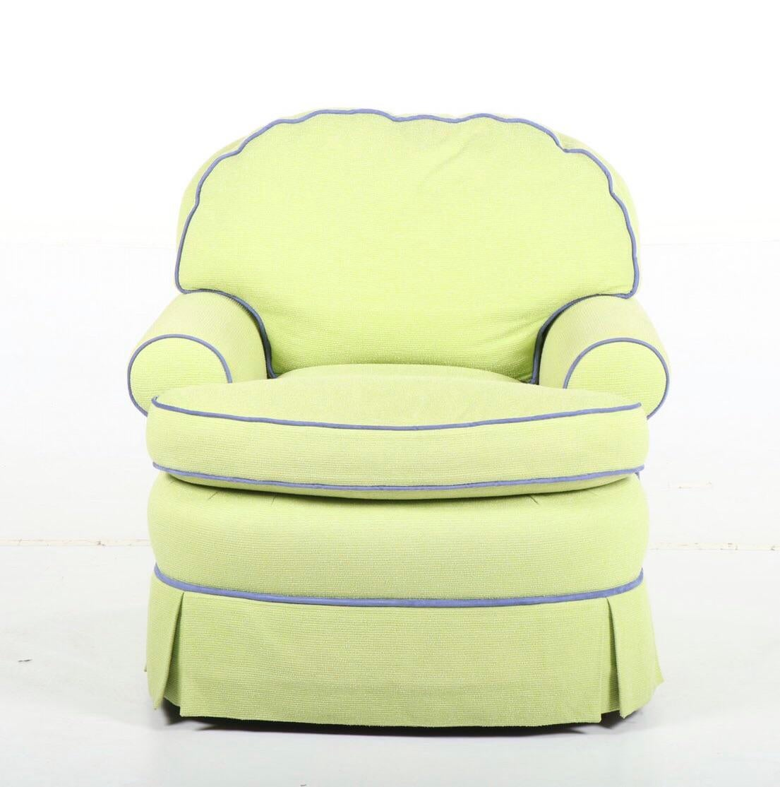 yellow upholstered accent chair office chairs zejtun contemporary chairish arm by summer hill ltd this comfortable fun provides a