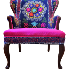 Vintage Arm Chair Lionel Outdoor Wicker Lounge And Ottoman Set With Pillow Boho Chic Suzani Embroidery Pink Blue Wingback For Sale