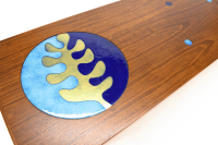 Walnut Inlaid Enamel Disc Coffee Table | Chairish