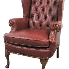 Queen Anne Wingback Chair Leather Andy Warhol Electric Hickory Leathertufted Style Wing Chairish For Sale