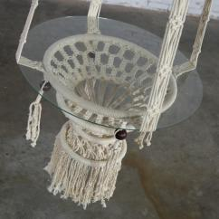 White Bohemian Hanging Chair Broyhill Club Vintage Macrame Tables With Round Glass Tops A Pair For Sale