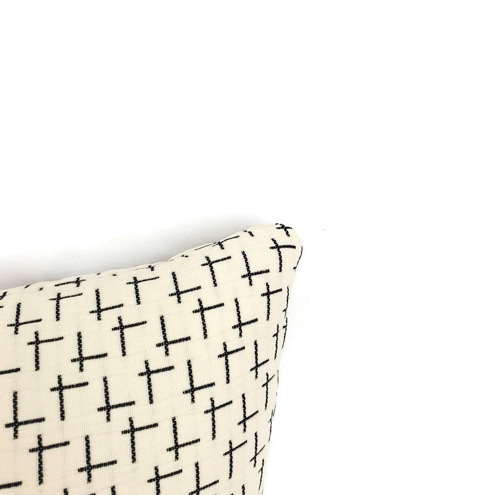 designtex cream with black west elm tack cloth in cream lumbar pillow cover 13 x 20