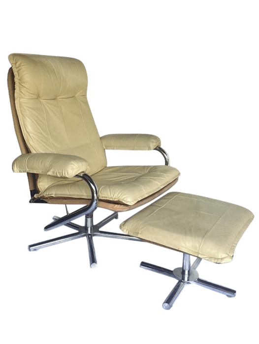 reclining chair with ottoman leather bedroom kmart mid century modern chrome recliner and set for sale