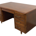 Mid Century Modern Jasper Desk Co Walnut 6 Drawer Writing Desk Chairish