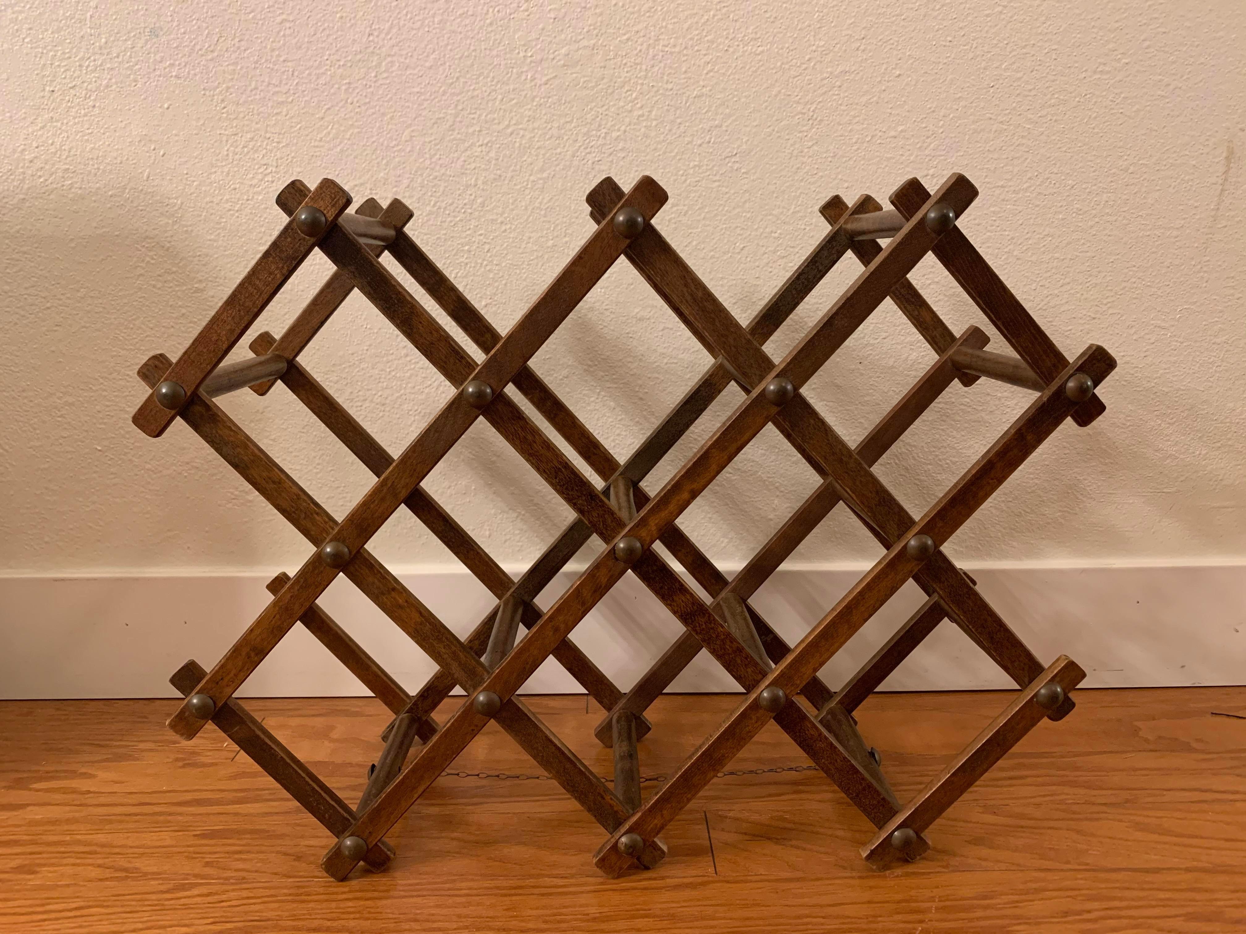 mid century modern walnut wine rack japan