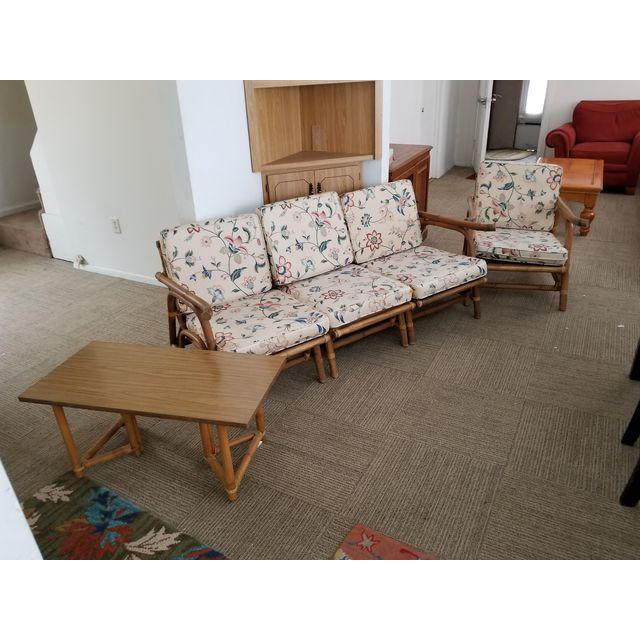 bamboo couch and chairs office san antonio tx 20th century rattan sofa chair patio set 3 pc chairish for sale image