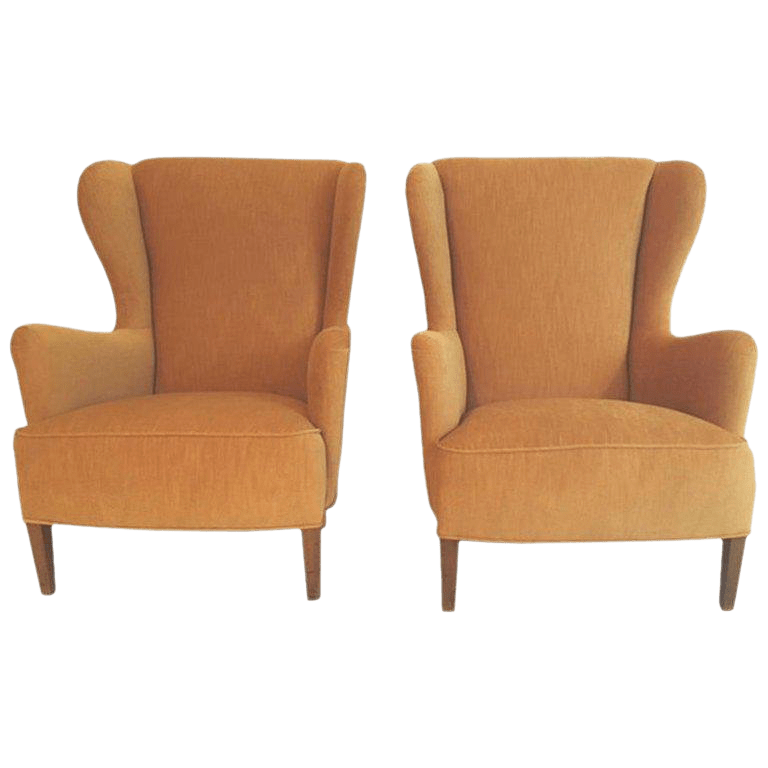 wing chairs on sale dark green outdoor chair cushions vintage used wingback for chairish 1940s danish a pair