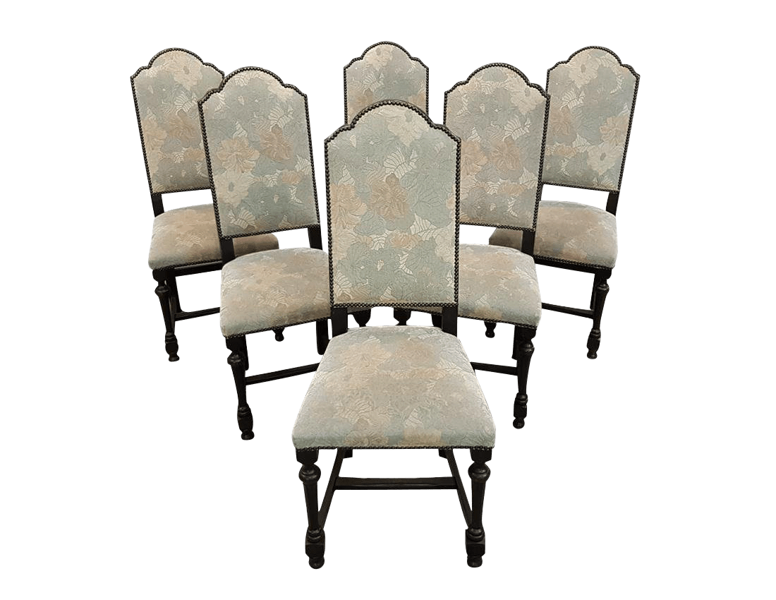 small scale upholstered dining chairs le corbusier chair chandigarh vintage used for sale chairish set of six french arch top high back oak