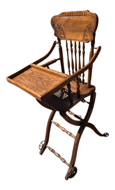 antique high chairs vintage velvet chair oak chairish for sale