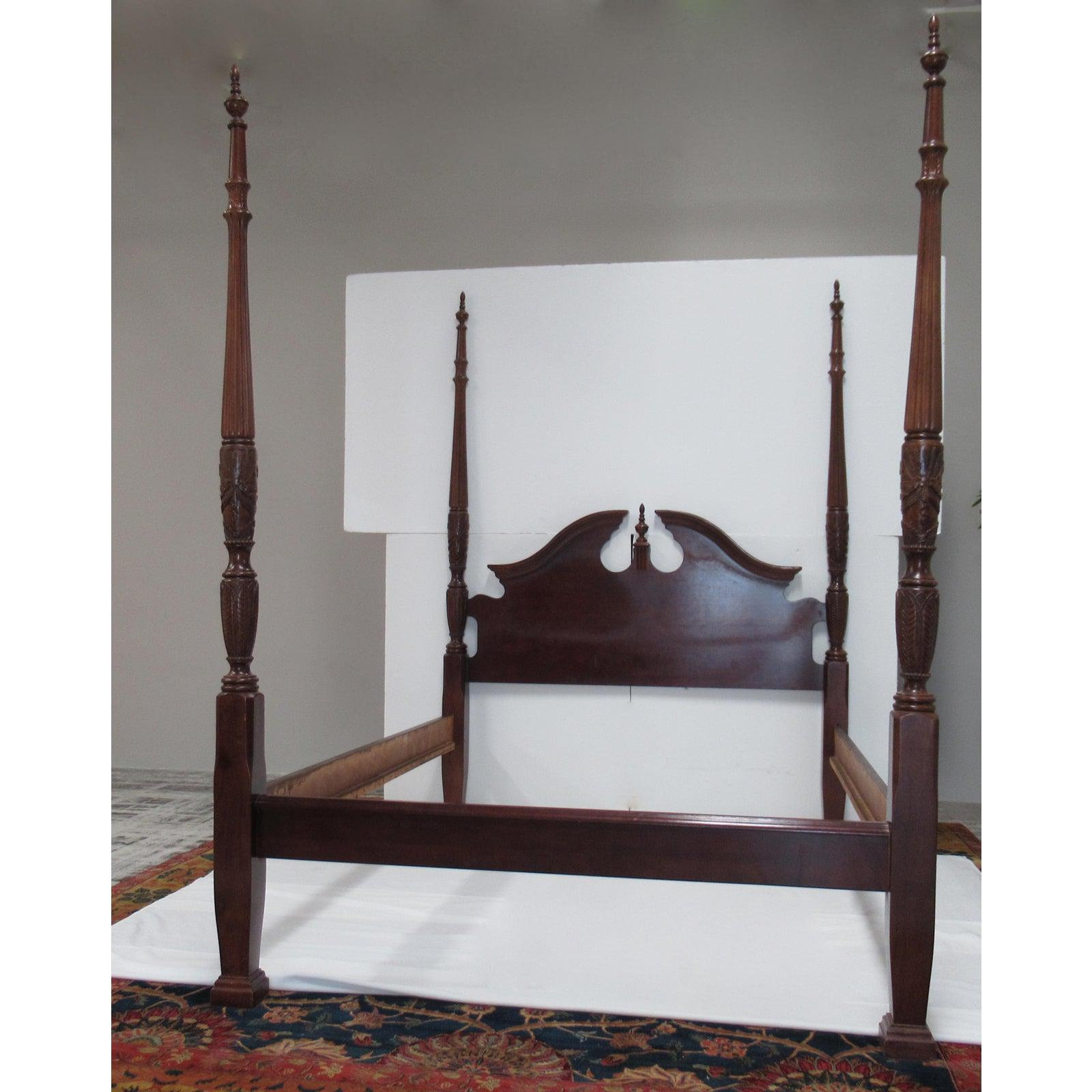 1980s vintage colonial style rice carved 4 poster bed attr to henkel harris queen size