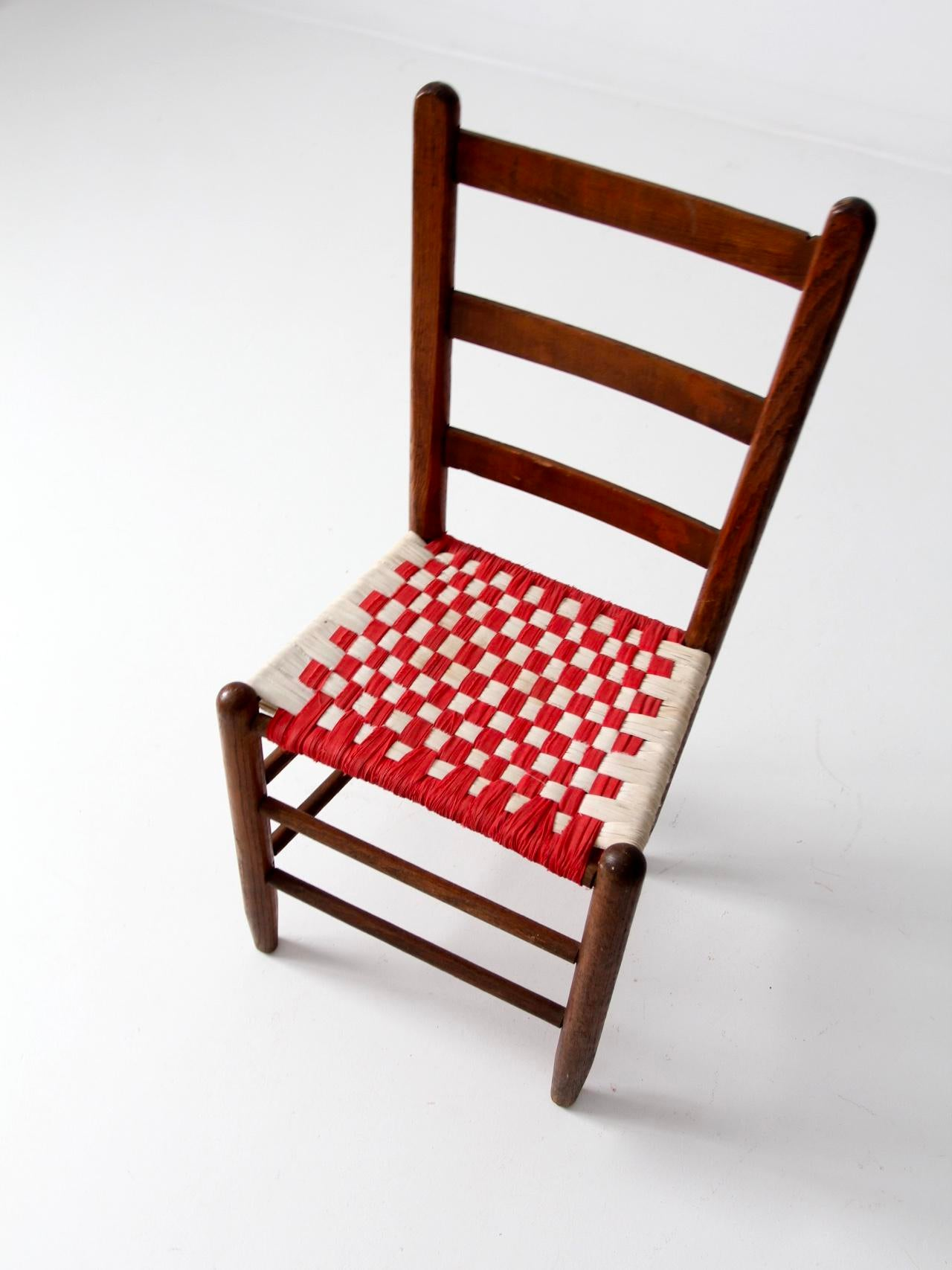 Antique Ladder Back Woven Seat Chair  Chairish