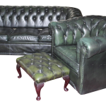 Vintage Green Leather Chesterfield Sofa Set