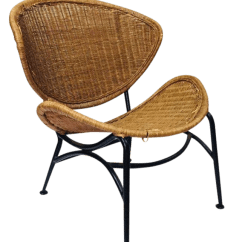 Wicker Wingback Chairs Medical Recliner South Africa Vintage Used Rattan Chairish 1970s Clam Shell Chair